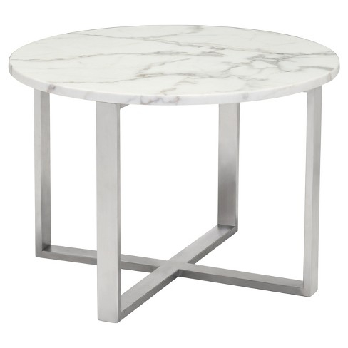 Modern Round Faux Marble Low Side Table Stone Brushed Stainless Steel Zm Home