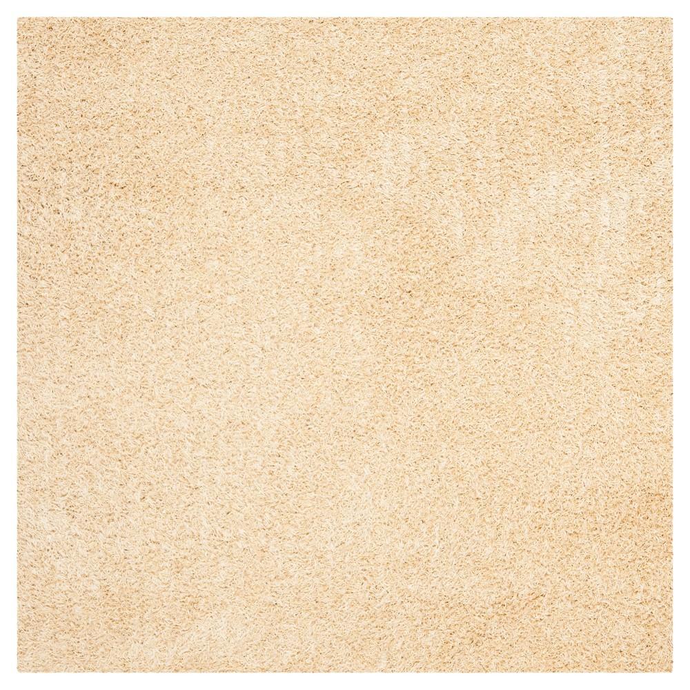 Creme Solid Shag/Flokati Tufted Square Area Rug - (7'X7') - Safavieh