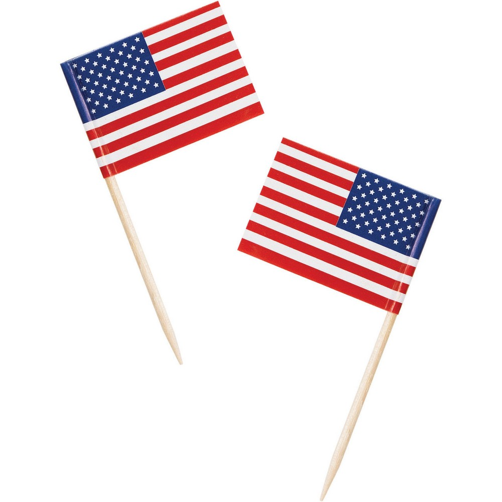 50ct Flag Picks, Red, Toothpick Holder