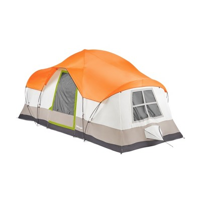 Tahoe Gear Olympia 10 Person 3 Season Outdoor Hiking Family Backpack Camping Tent, Orange and Green