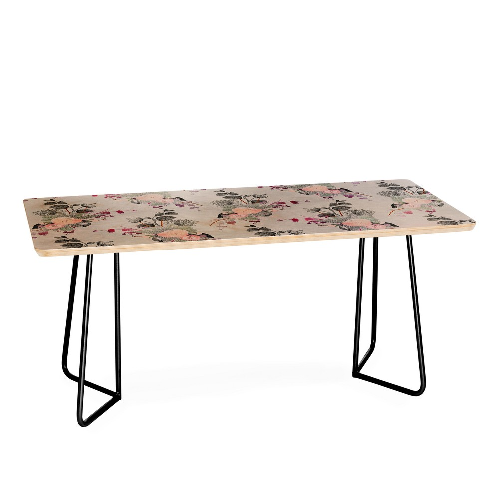 Iveta Abolina Rose Blush Coffee Table Floral Black - Deny Designs