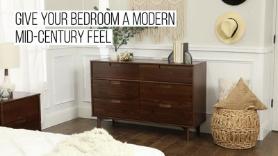 Mid Century Modern Classic Wood 6 Drawer Groove Dresser - Saracina Home : Target