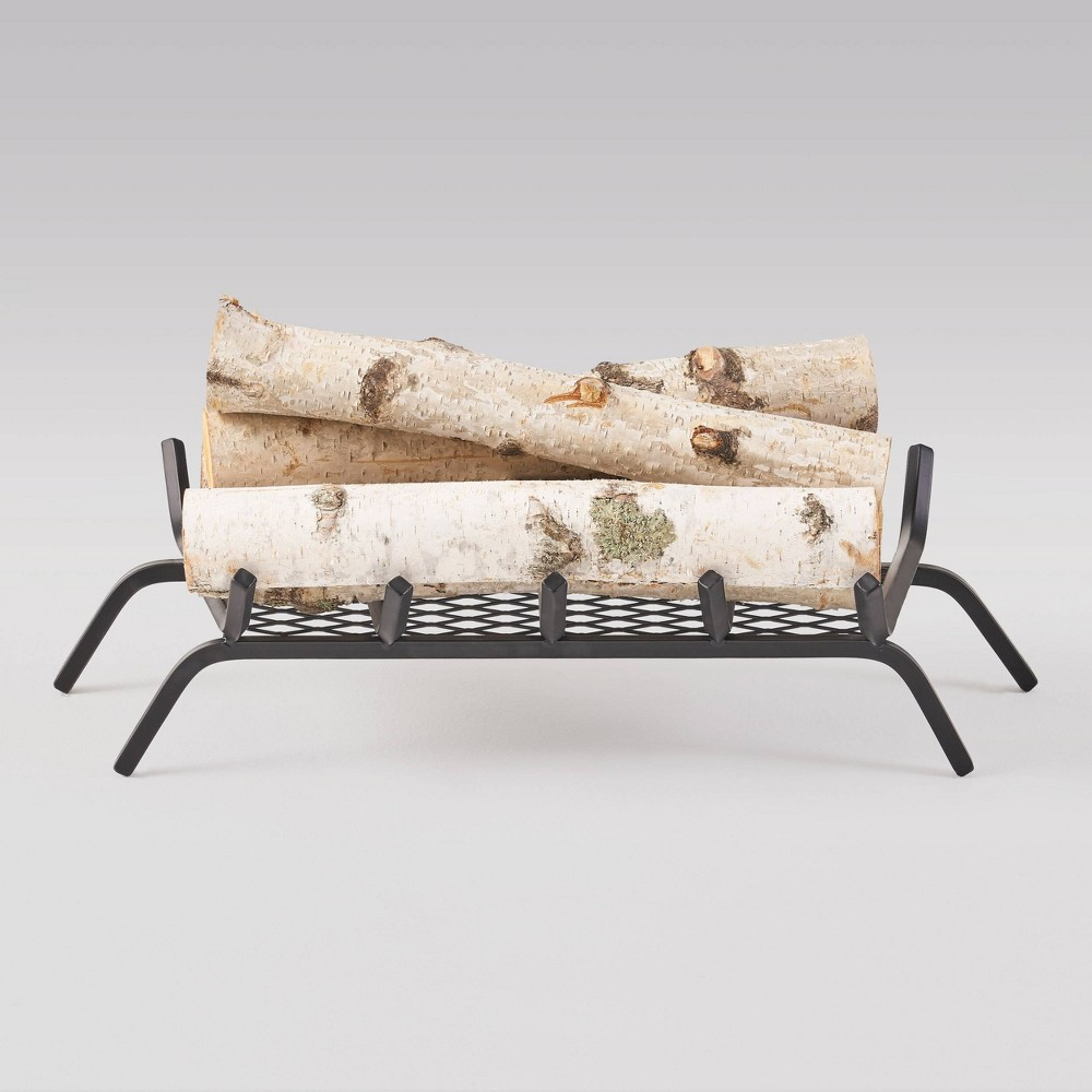 Image of Brinkdale Iron Fireplace Log Holder - Matte Black