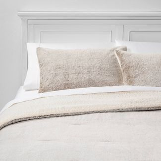 Full/Queen Aspen Faux Fur Comforter & Sham Set Brown