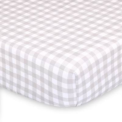 The Peanutshell Farmhouse Gray Check Fitted Sheet