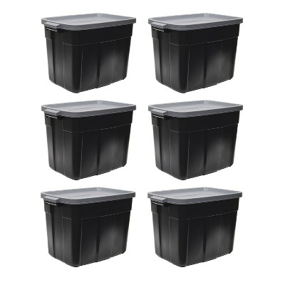 Rubbermaid Roughneck Tote 18 Gallon Stackable Storage Container Organizer Bin with Snap Stay Tight Lid and Easy Carry Handles, Black (6 Pack)