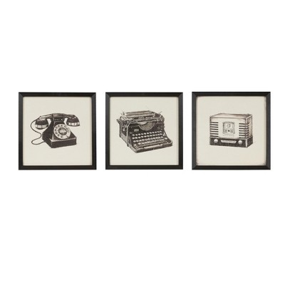 "(Set of 3)13.5"" Square Vintage Models Gel Coated Wall Decorative Wall Art Set Black"