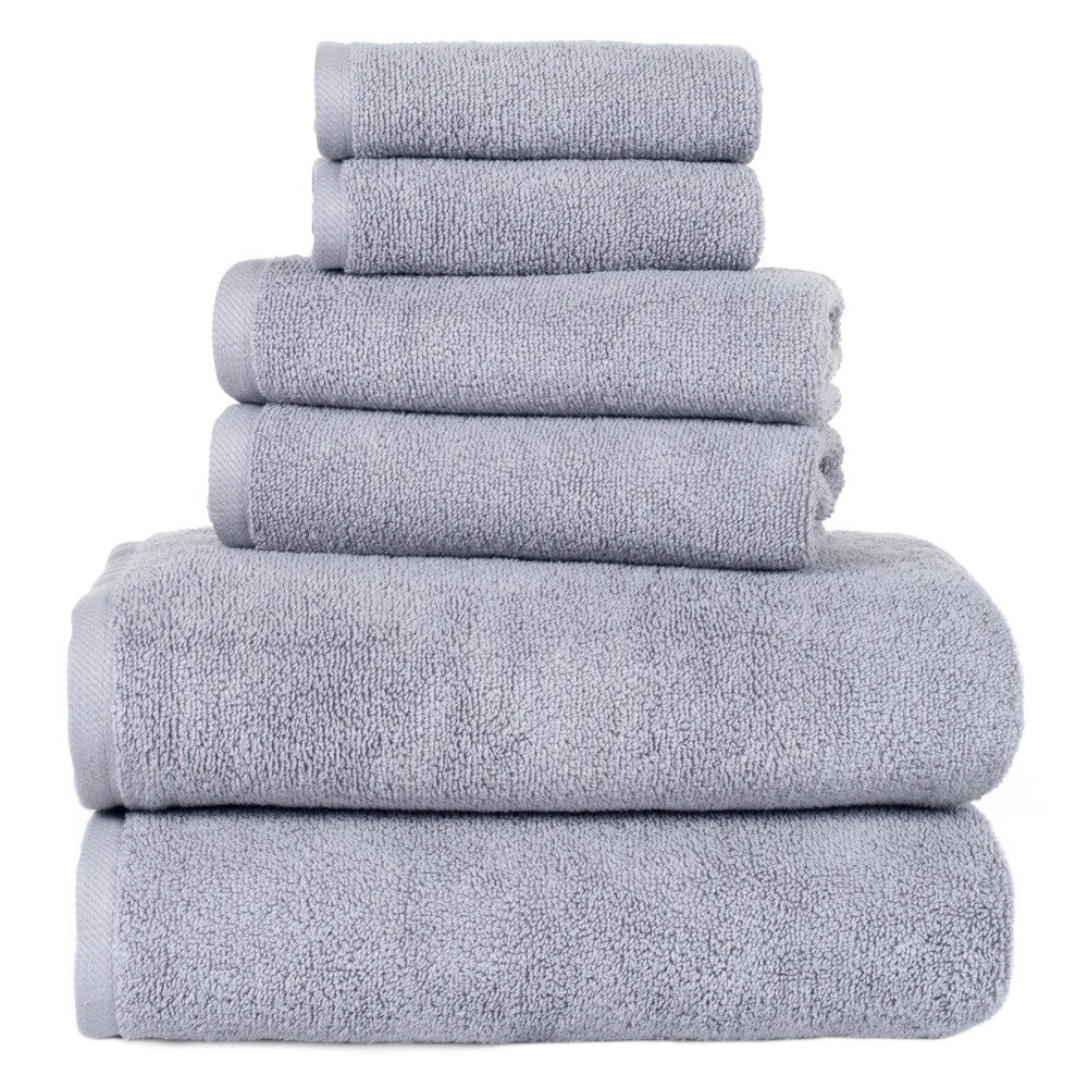 Solid Bath Towels And Washcloths 6pc Silver Yorkshire Home