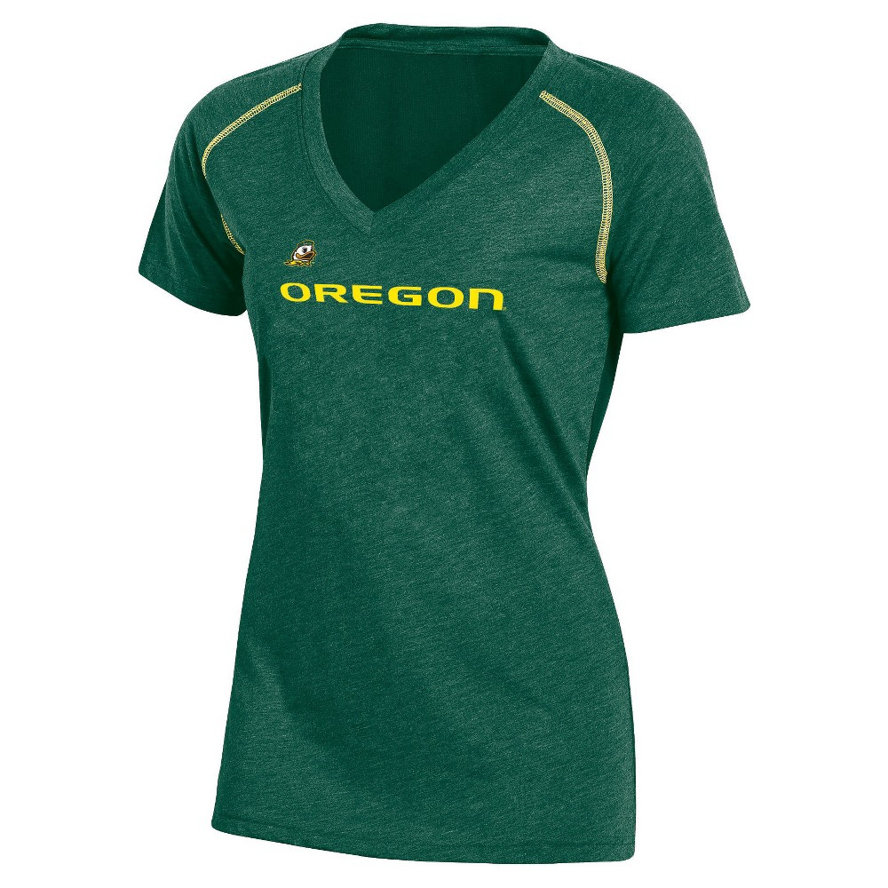 NCAA Women's Workout Warrior V-Neck Mesh Back Performance Soft-Touch T-Shirt Oregon Ducks - M, Multicolored