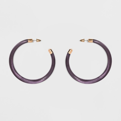 Thick Large Open Transparent Hoop Earrings - A New Day™ - image 1 of 2
