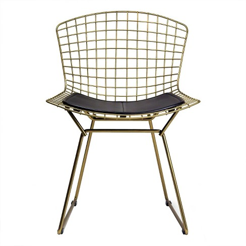 Aspen Modern Classic Wire Dining Chair with Champagne Finish Steel and Leather Seat Pad - Black - Aeon - image 1 of 3