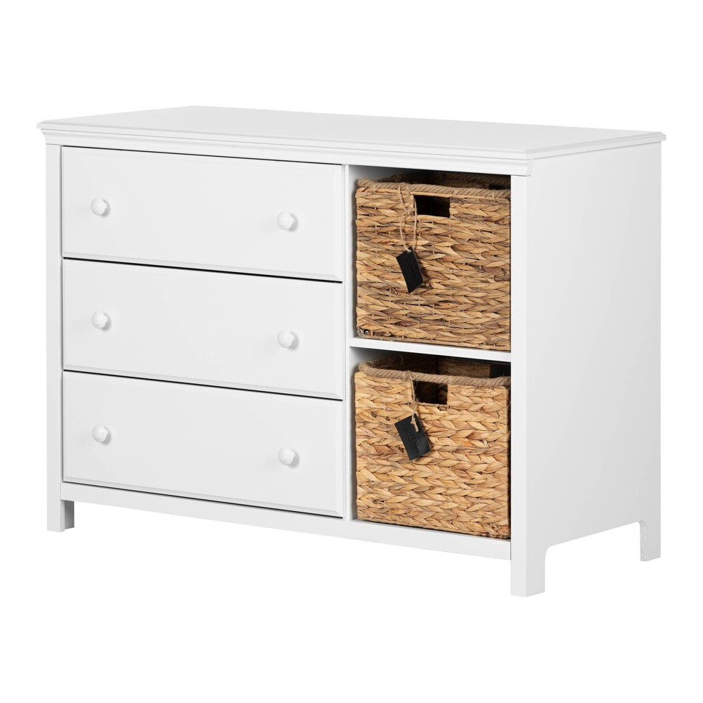 Image of Cotton Candy 3-Drawer Dresser with Baskets Pure White - South Shore