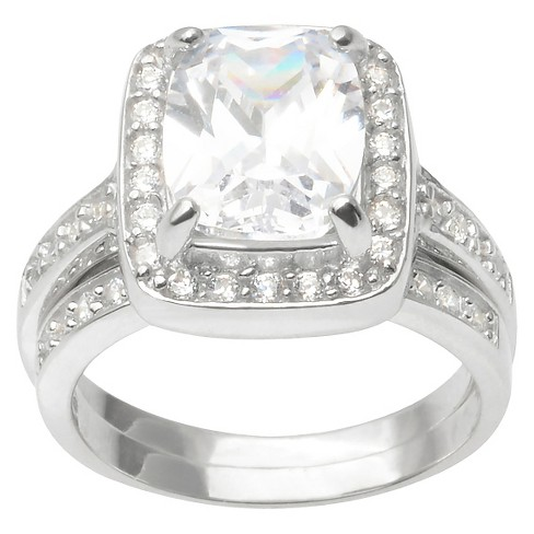4 1/2 CT. T.W. Emerald Cut CZ Basket Set Halo Ring in Sterling Silver - Silver - image 1 of 2