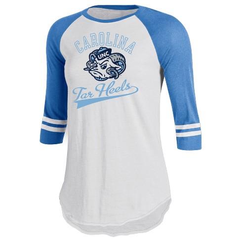 North Carolina Tar Heels Women s Retro Tailgate White 3 4 Sleeve T ... 5797a4fae4