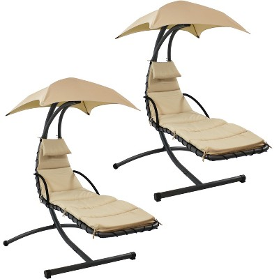 Sunnydaze Outdoor Hanging Chaise Floating Lounge Chair with Canopy Umbrella and Arc Stand, Beige, 2pk