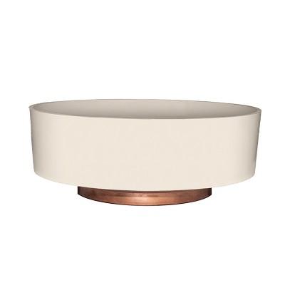 The HC Companies 8 Inch Round Plastic Capri Bowl Decorative Indoor Flower Succulent Planter Pot with Drain Plug Hole, Vanilla Bisque