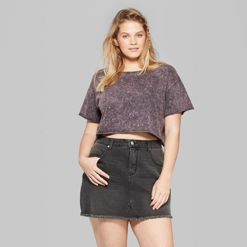f00e7fe9425 Women s Plus Size Short Sleeve Cropped Boxy T-Shirt - Wild Fable™ Black  Acid Wash 4X   Target