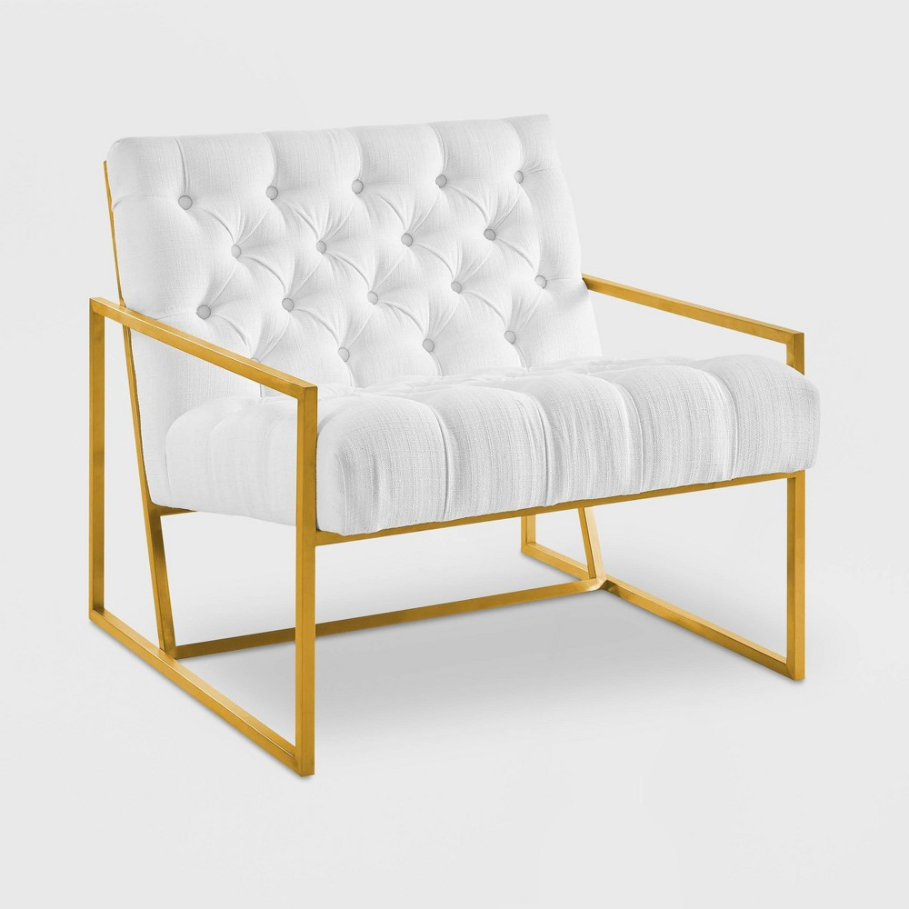 Bequest Gold Stainless Steel Upholstered Fabric Accent Chair White - Modway