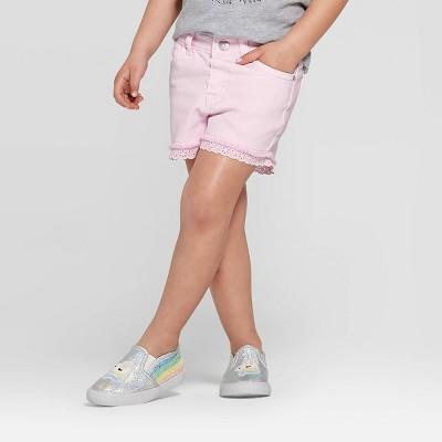 Toddler Girls' Eyelet Jean Shorts - Cat & Jack™ Light Pink 4T