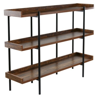OneSpace 36.22  Modern Wood And Steel 3 Shelf Display Brown/Black