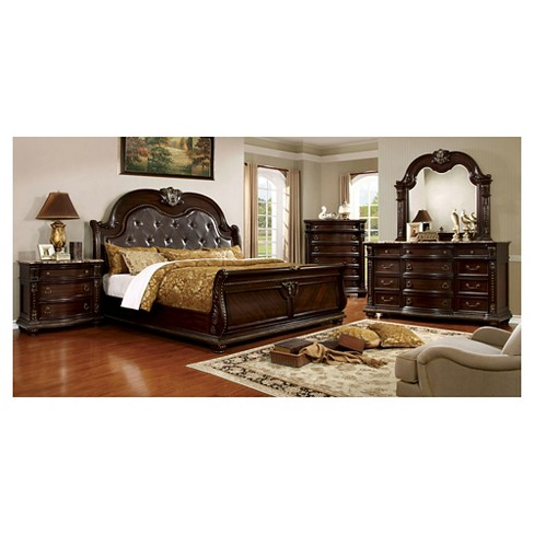 Walin Traditional Tufted Camelback Headboard Bed Furniture Of