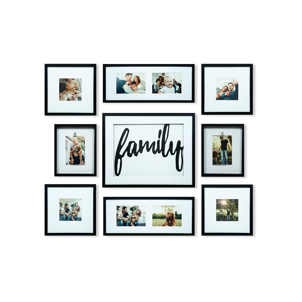 Image of Family Decor Frame 9pc Kit - Gallery Solutions, Black