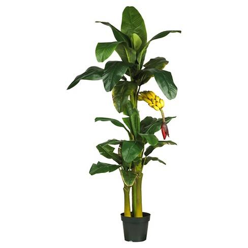 "Nearly Natural Triple Stalk Banana Silk Tree Green (6"") - image 1 of 1"