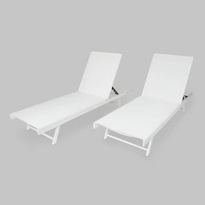 Salton 2pk Aluminum Patio Chaise Lounge - Christopher Knight Home