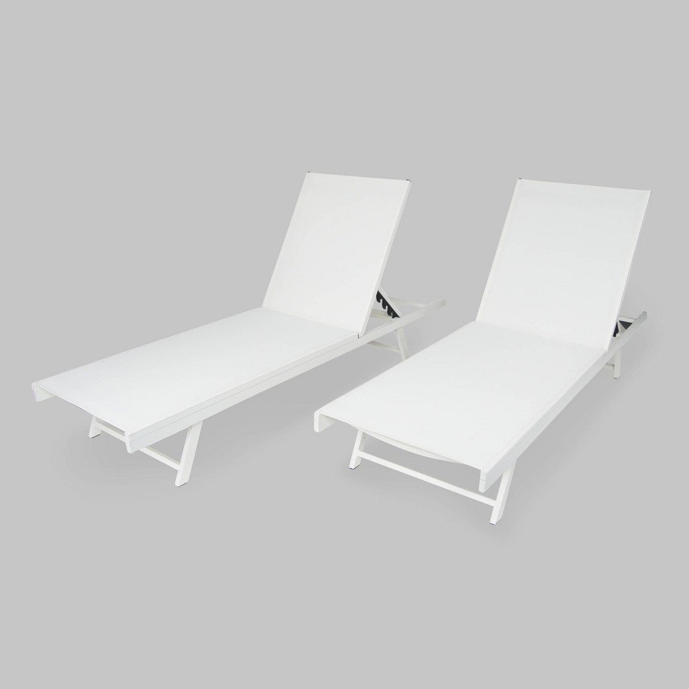 Salton 2pk Aluminum Patio Chaise Lounge - White - Christopher Knight Home