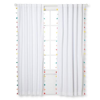 Tassel Blackout Window Curtain White (84 x42 )- Pillowfort™