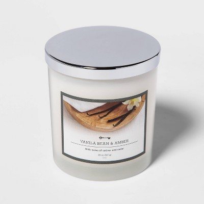 20oz Lidded Milky Glass Jar 3-Wick Vanilla Bean and Amber Candle - Threshold™