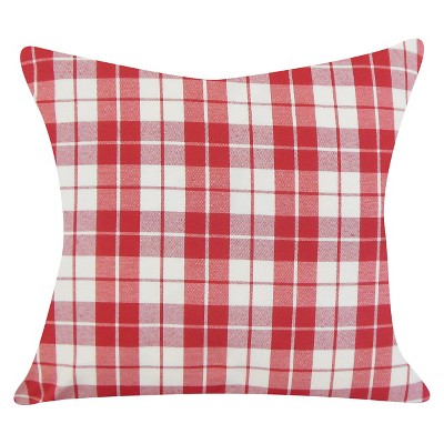 Plaid Throw Pillow Red (18 x18 )- The Pillow Collection