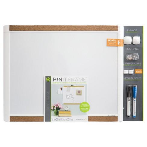 Ubrands Pin it Cork Frame Magnetic Dry Erase Board - 16\