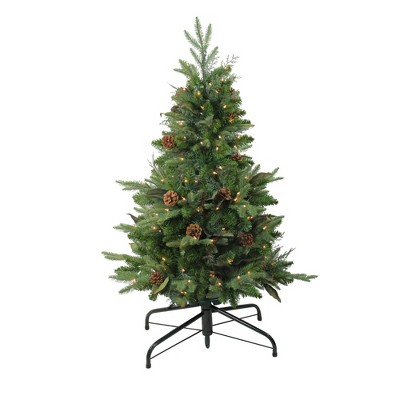 Northlight 4' Prelit Artificial Christmas Tree Medium Mixed Winter Pine Stake - Clear Lights