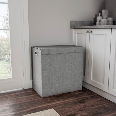 """Hastings Home Collapsible Double Laundry Hamper / 2-Section Clothing Sorter With Removable Lid and Mesh Liner Bags - 25.5"""" x 14.5"""", Gray"""