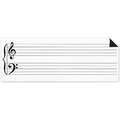 "Bright Creations Magnetic Dry Erase Music Staff Whiteboard Sheet, Laminated Poster 45.5"" Long"