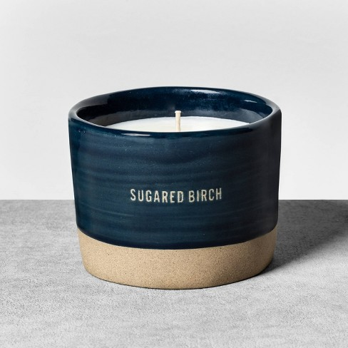 9.3oz Reactive Glaze Ceramic Container Candle Sugared Birch - Hearth & Hand™ with Magnolia - image 1 of 4