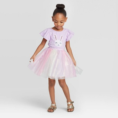Toddler Girls' Tulle Sequin Bunny Dress - Cat & Jack™ Purple 12M