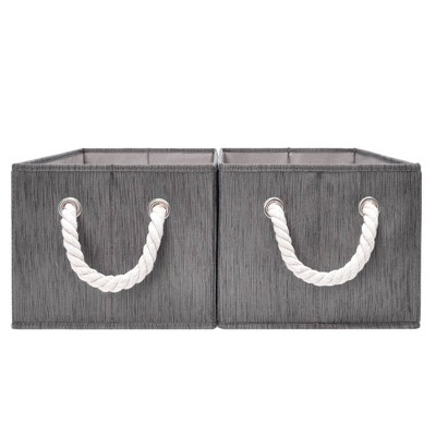 StorageWorks Set of 2 (11L)Rectangle Polyester Storage Bin with Cotton Rope Handles Slate