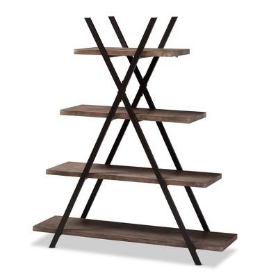 """54.3"""" 4 Tier Fiera Wood and Metal Living Room Display Shelf Walnut/Black - Baxton Studio"""