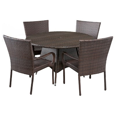 Grant 5pc Wicker Patio Dining Set- Brown - Christopher Knight Home