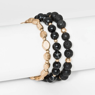 Semi-Precious Black Howlite and Black Lava Worn Gold Stretch Bracelet Set 5pc - Universal Thread™ Black