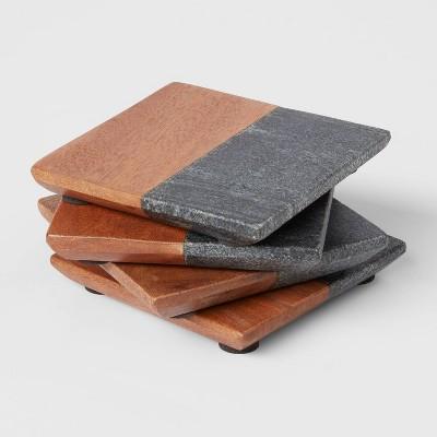 4pk Marble and Wood Coasters Dark Gray - Threshold™