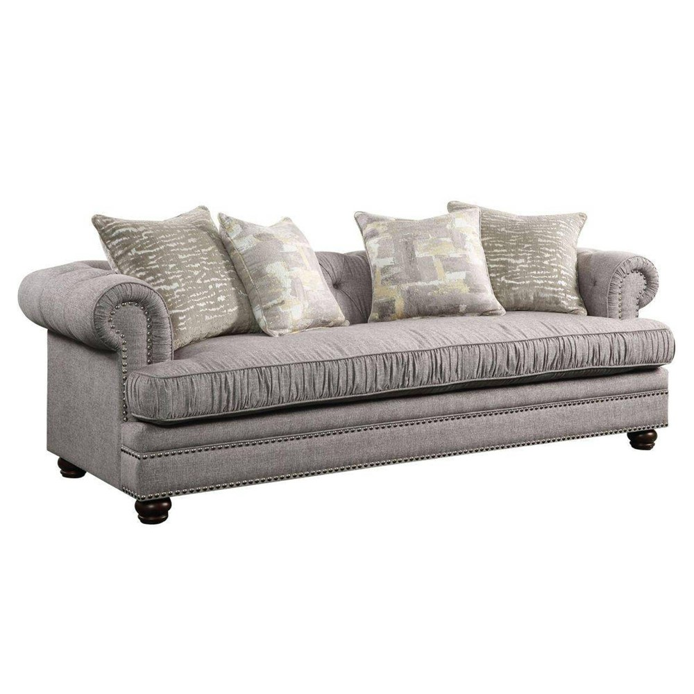 Image of Nailhead Trim Fabric Upholstered Wooden Sofa with Four Pillows Gray - Benzara
