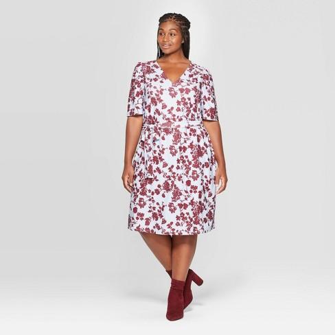 Women\'s Plus Size Floral Print Puff Short Sleeve V-Neck Knitted Mini Dress  - Ava & Viv™ Blue