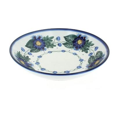 Blue Rose Polish Pottery Forget Me Not Large Salad Bowl