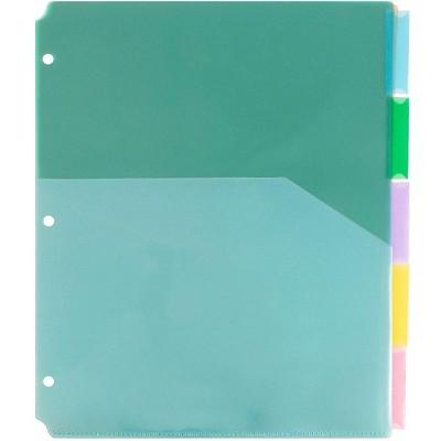 JAM Paper Plastic Index Tab Dividers w/Double Pockets 5-Tab 9 3/4x11 1/2 375032920