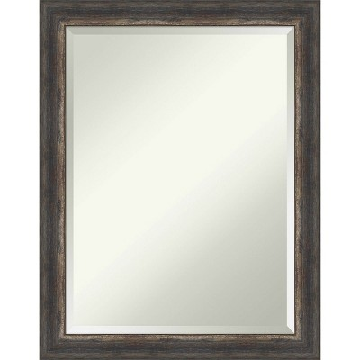 Bark Rustic Framed Bathroom Vanity Wall Mirror Charcoal - Amanti Art