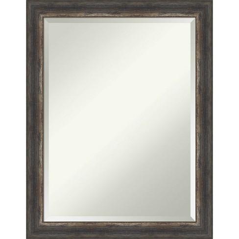 22 X 28 Bark Rustic Framed Bathroom Vanity Wall Mirror Charcoal Amanti Art Target