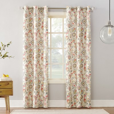 Jorah Botanical Print Thermal Insulated Grommet Curtain Panel - Sun Zero